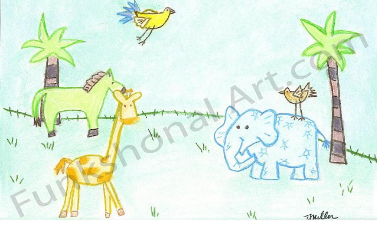 jungle animals i mural sketch - Sketch Images For Kids